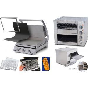 Roband - Komplettset Professionelle Burger-Station mit Grill GSA815S-F inkl. Zubehör und Eclipse Bun Toaster ET315-F