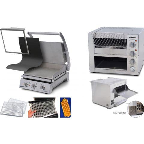 Roband - Komplettset Professionelle Burger-Station mit Grill GSA610S-F inkl. Zubehör und Eclipse Bun Toaster ET315-F